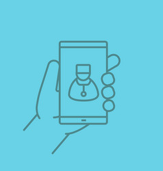 family doctor hand holding smartphone color vector image