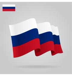 Flat and waving russian flag vector
