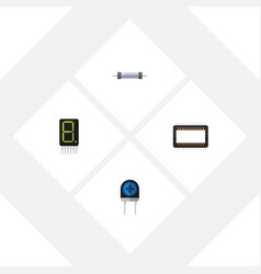 Flat icon device set of resistor mainframe vector