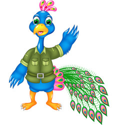 funny peacock cartoon posing with smile and waving vector image