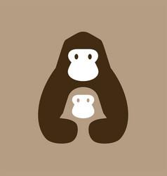 Gorilla mom and son negative space logo icon vector