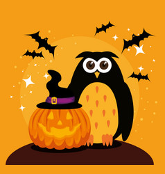 halloween card with pumpkin and owl vector image