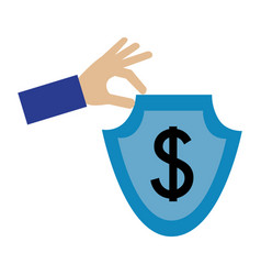hand with shield and dollar symbol isolated icon vector image