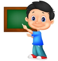 Happy little school boy writing on the blackboard vector