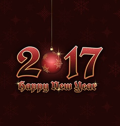 Happy New Year 2017 title with hanging bauble vector