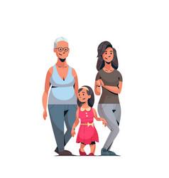 Happy three generations family celebrating women vector