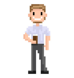 Hipster pixel character with cup coffee vector