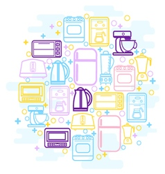 Home Kitchen appliances icons vector image
