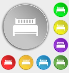 Hotel bed icon sign Symbols on eight flat buttons vector image