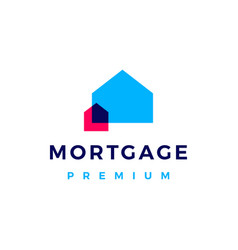 house mortgage overlapping color logo icon vector image