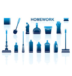 icons of accessories and means for cleaning vector image