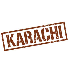 Karachi brown square stamp vector