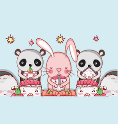 Kawaii animals and japanese food vector