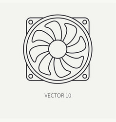 Line flat computer part icon cooling fan vector