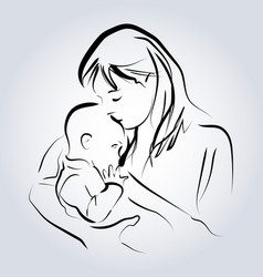 line sketch of a mother with a child vector image