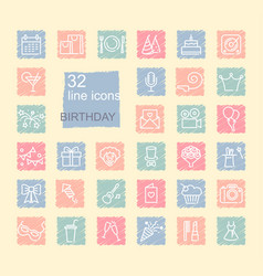 linear birthday icons set on spots drawn with vector image