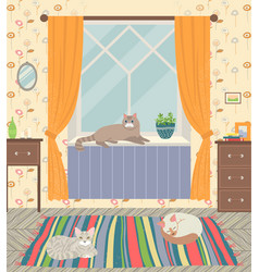 Living room interior home with cats pets vector