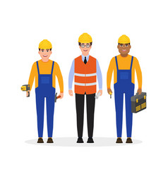 Male builders dressed in work clothes and a vector