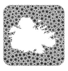 Map antigua island - flu virus collage with vector