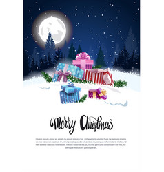 merry christmas flyer with present boxes in snowy vector image