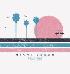 Miami beach florida t-shirt design with flamingo vector