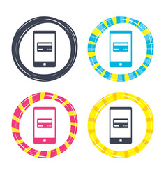 mobile payments icon smartphone with card vector image