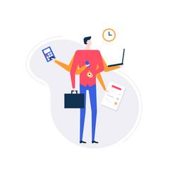 multitasking concept - modern flat design style vector image