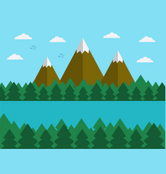 natural landscape in the flat simple style with vector image