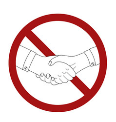 outline man shaking hands in prohibition sign vector image