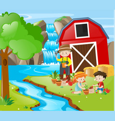 people planting tree by the river vector image