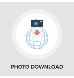 Photo download flat icon vector