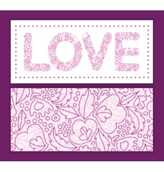 Pink flowers lineart love text frame vector