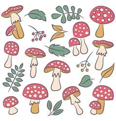 Poisonus mushrooms silhouette wallpaper vector