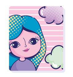 pop art cartoon girl halftone blue hair clouds vector image