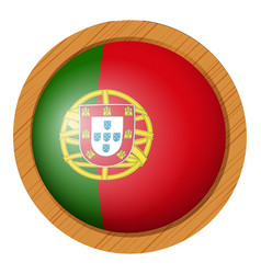 Portugul flag on round wooden frame vector