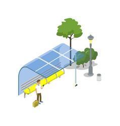 public transport stop isometric 3d icon vector image