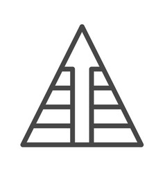 pyramid with arrow thin line icon vector image