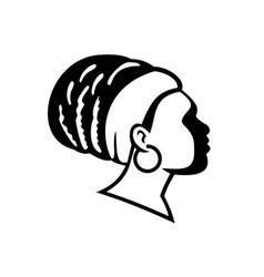 Rasta empress or rastafari woman side view black vector