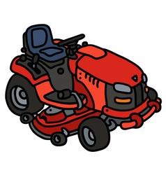 Red garden mower vector