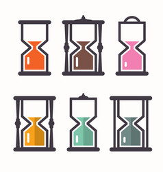 sand clock retro flat design icons set vector image