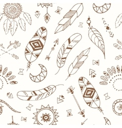 Seamless pattern with Boho Chic Style Elements vector