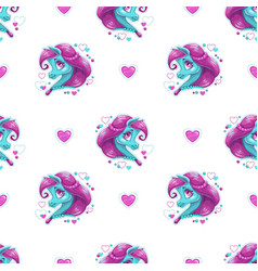 seamless pattern with cute cartoon pony girl vector image