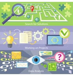 Search for Solution Data Analysis Working Project vector image