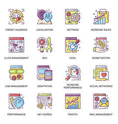 seo flat icons set link management vector image