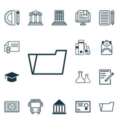 Set of 16 school icons includes graduation vector