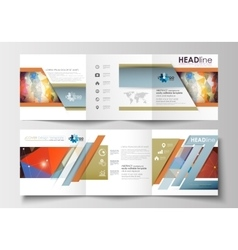 Set of business square templates for tri-fold vector