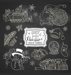 set of chalk doodles christmas design elements on vector image