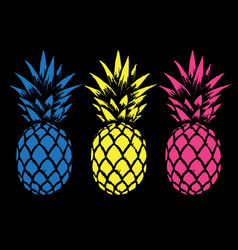 set of color pineapples vector image