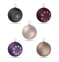 Set of five Christmas balls of different colors vector