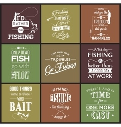 Set of vintage fishing typographic quotes vector